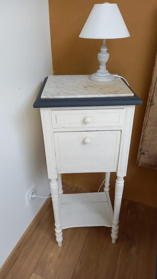 chevet marbre blan et gris